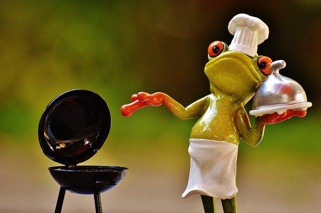 žába u grilu