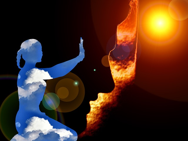 silueta při meditaci